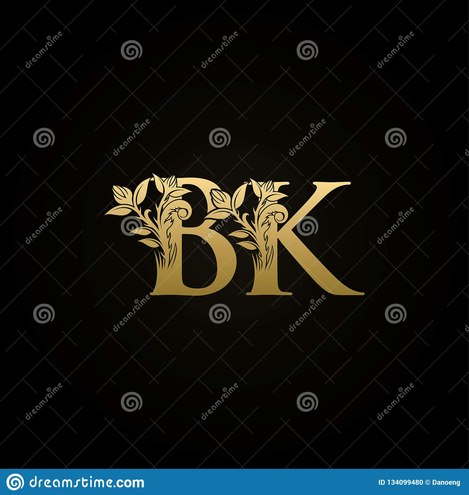 Classy Bk Letter Gold Logo Stock Illustration Illustration