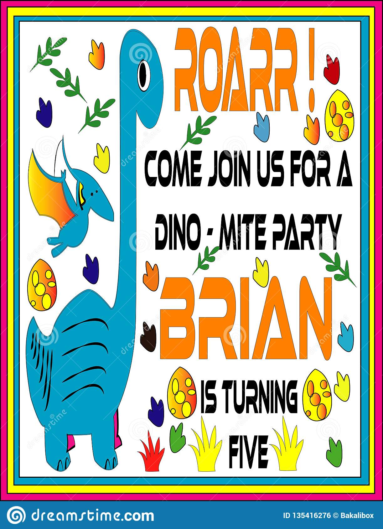 Cute Dinosaur Invitation - Lovely vector Card - Images vector 2019
