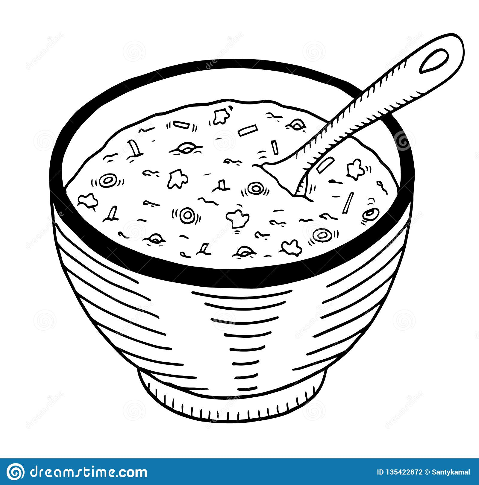 simple doodle of a bowl of soup stock