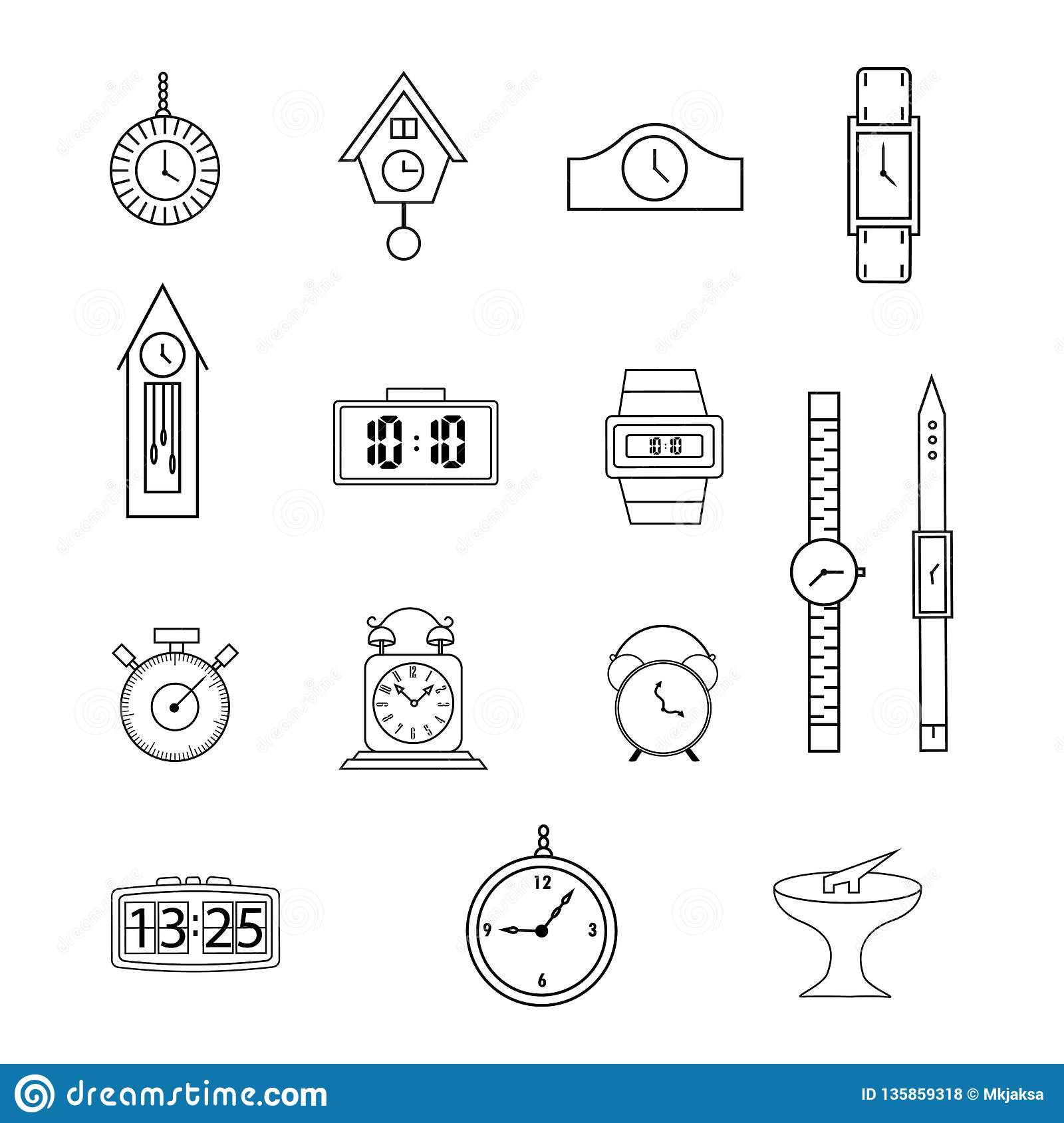 Set of line icons, flat icons collection, clock, watch, on white background