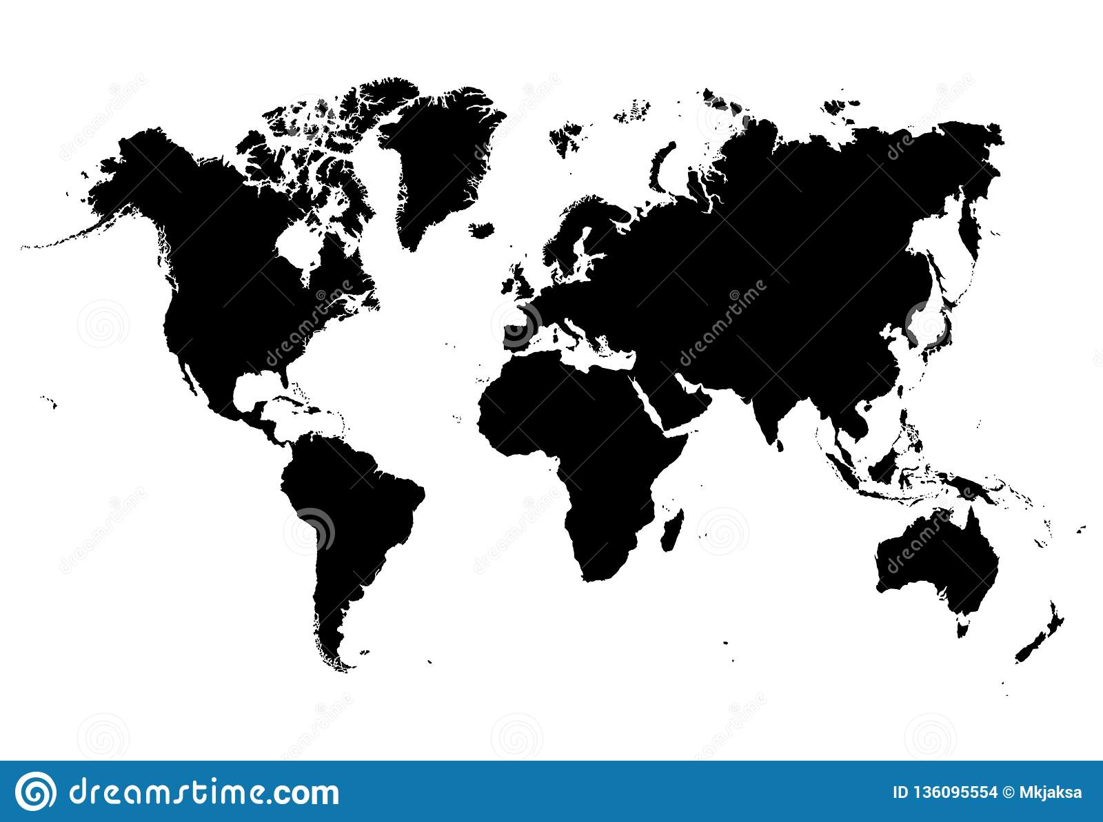 Black And White Very Detailed Map Of The Whole World. Stock Vector ...