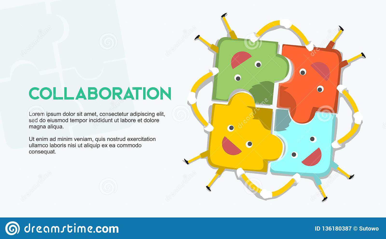 Collaboration Metaphor Cartoon Puzzle With Happy Face Hand In Hand