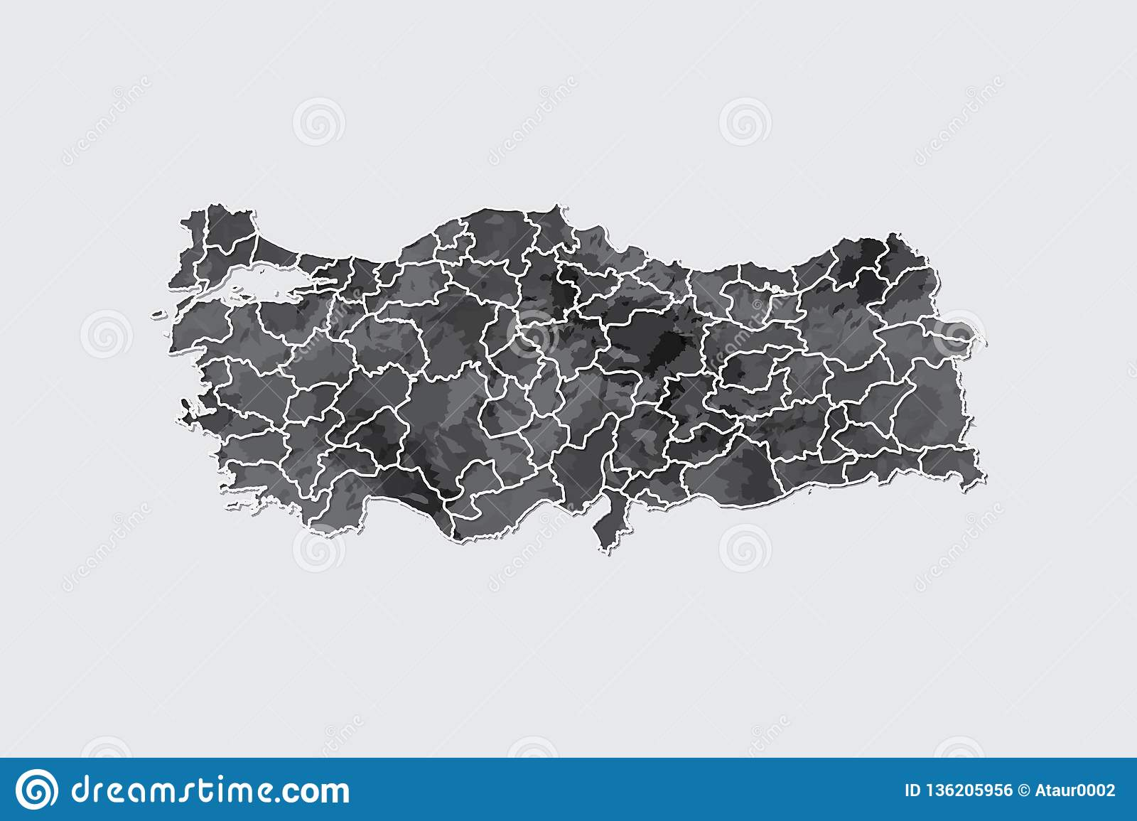 Turkey watercolor map vector illustration in black color with border lines of different provinces on light background using paint
