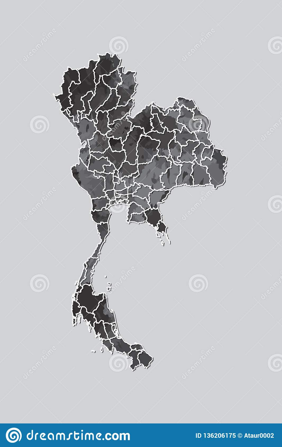 Thailand watercolor map vector illustration of black color with border lines of different provinces on light background