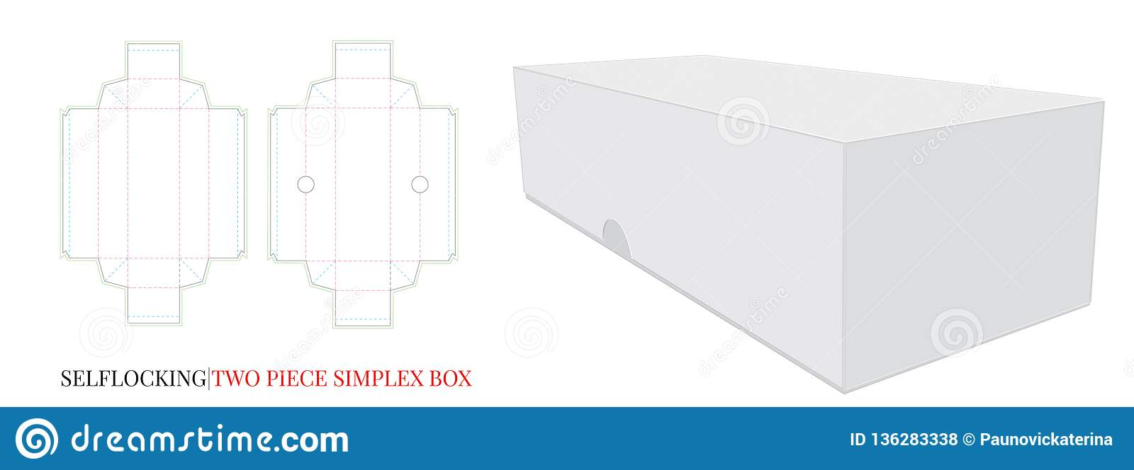 Simplex Box Template, vector with die cut / laser cut layers. Self Lock, two pieces, without glue. Simplex Box mock up