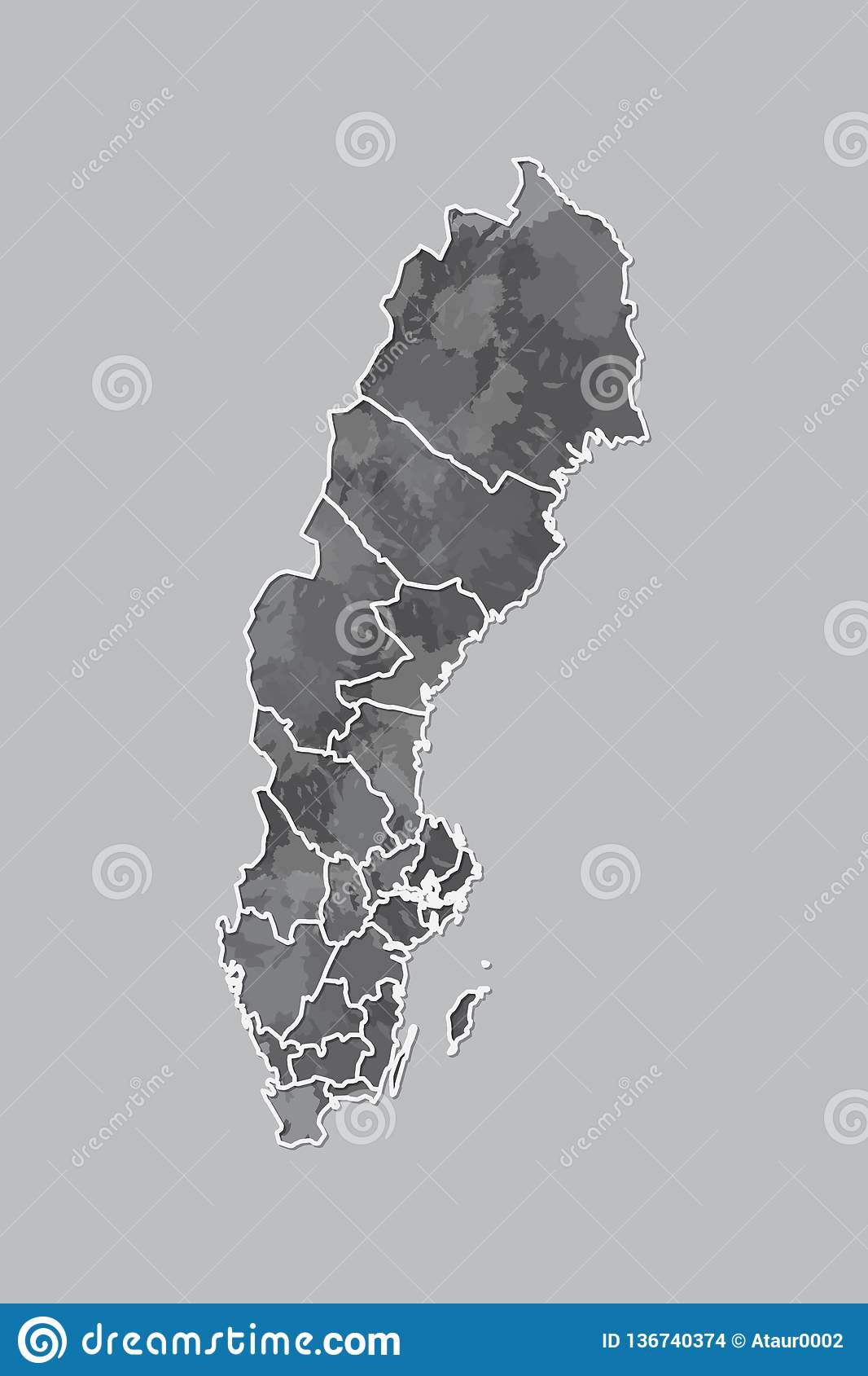 Sweden watercolor map vector illustration of black color with border lines of different regions or provinces on light background
