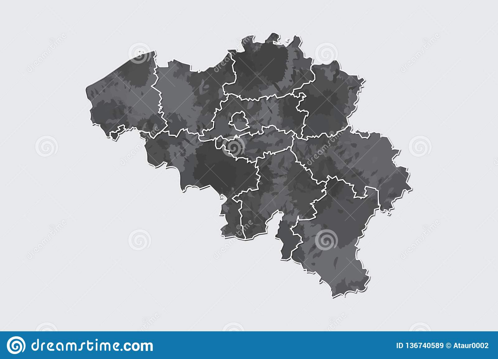 Belgium watercolor map vector illustration of black color with border lines of different regions or provinces on light background