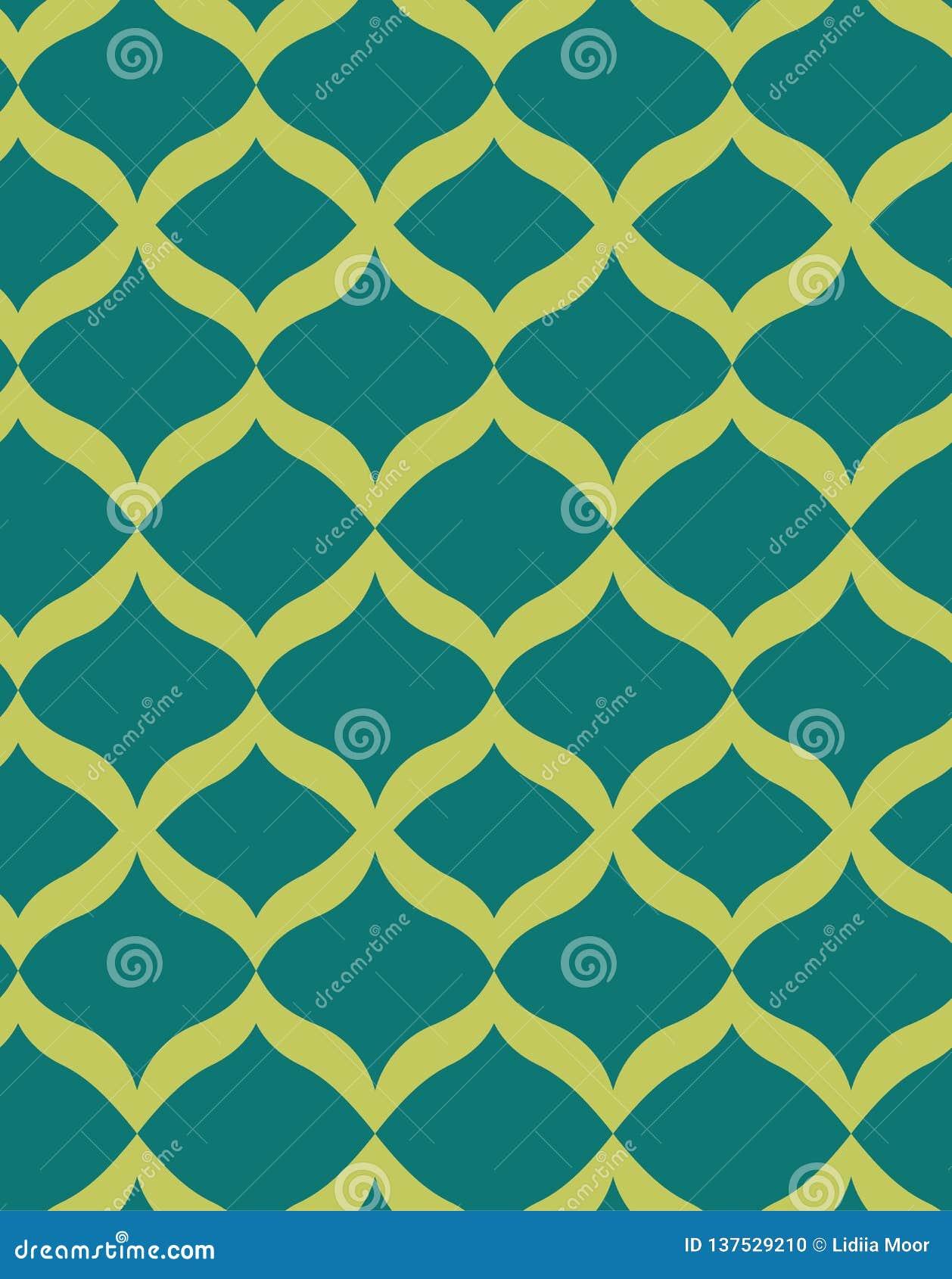 Green Seamless Pattern Art Deco Stock Vector Illustration