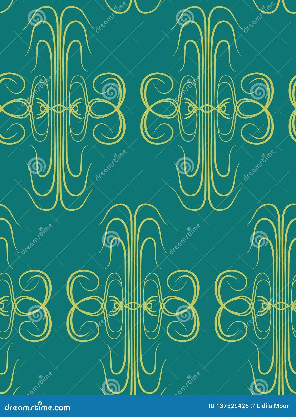 Wallpaper Art Deco Floral Seamless Pattern Stock Vector