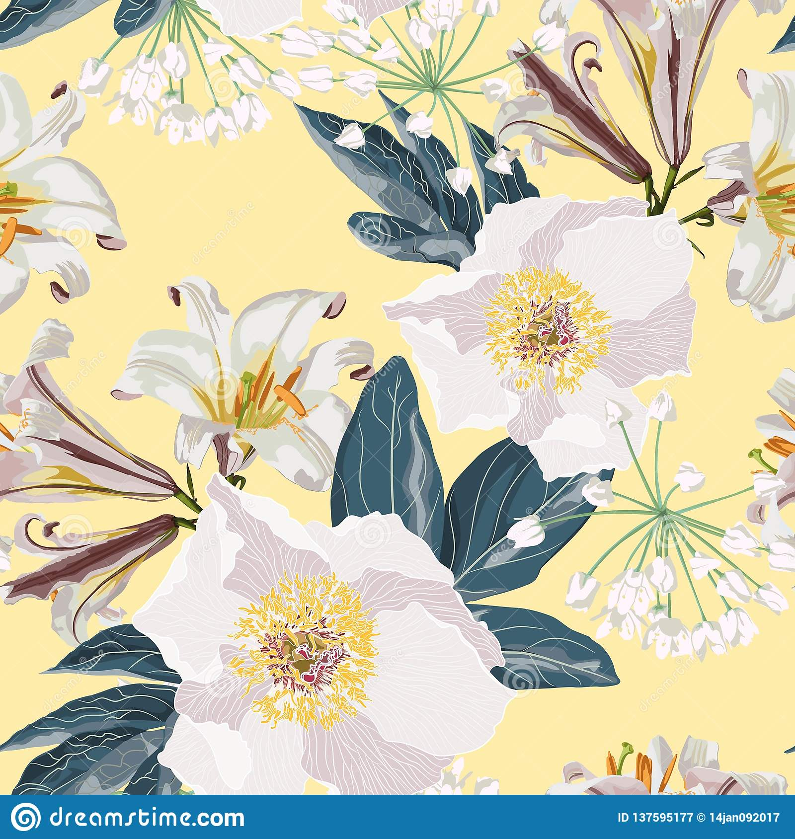 Spring flower seamless pattern with beautiful lilies and peonies flowers on yellow background template.