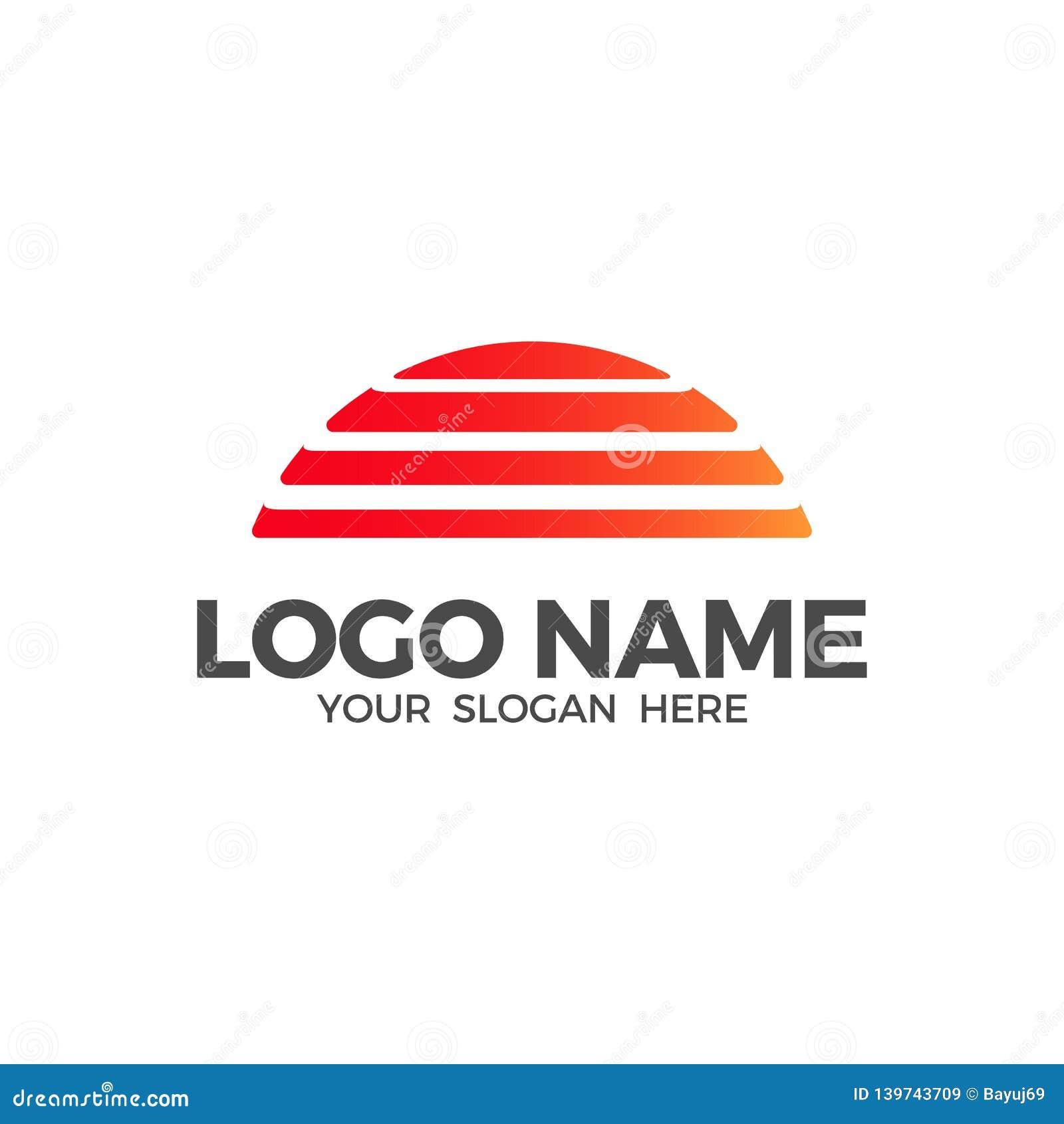 Sunset beach vector logo design template