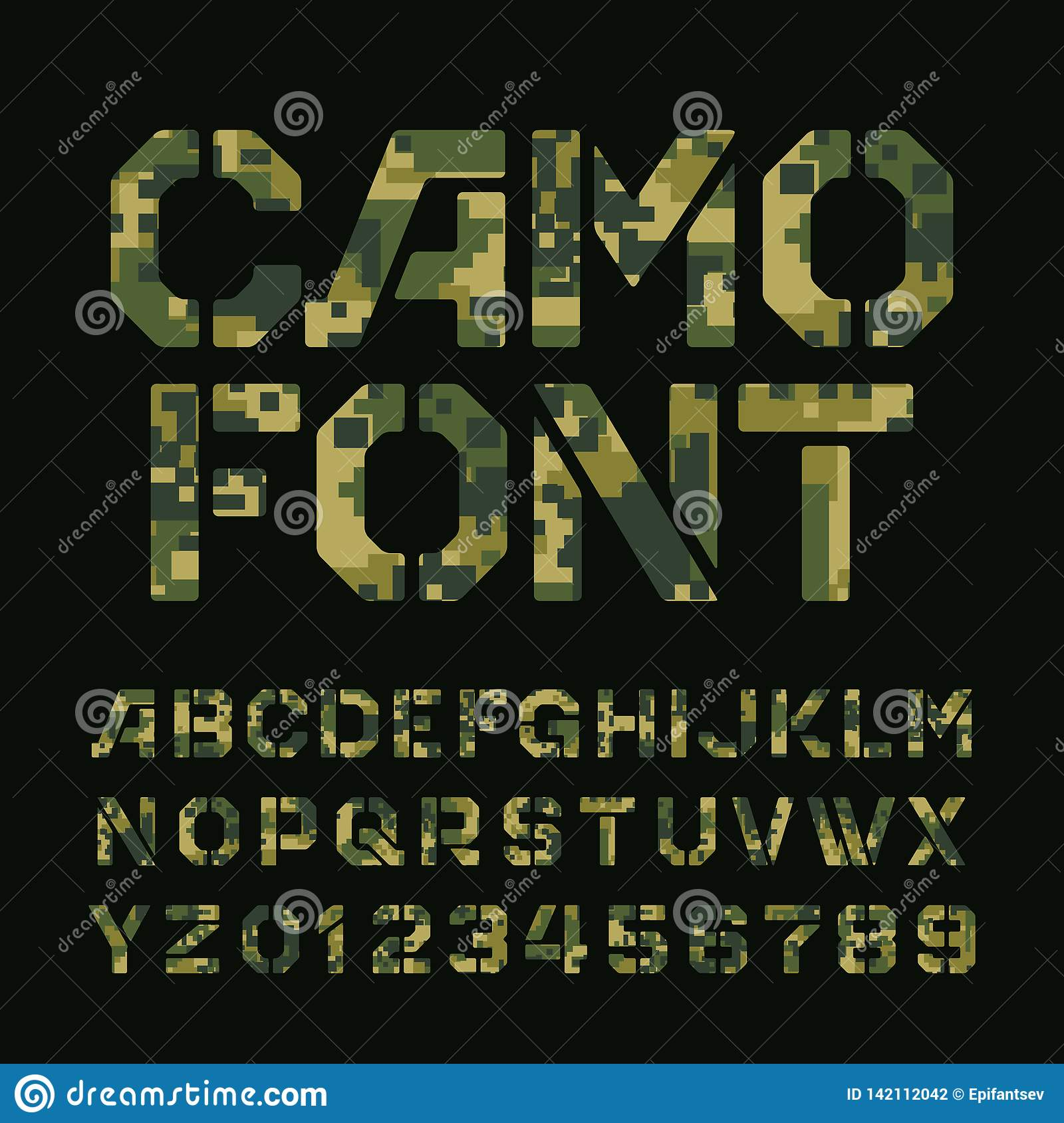 Pixel Camo Alphabet Font. Stencil Type Letters And Numbers