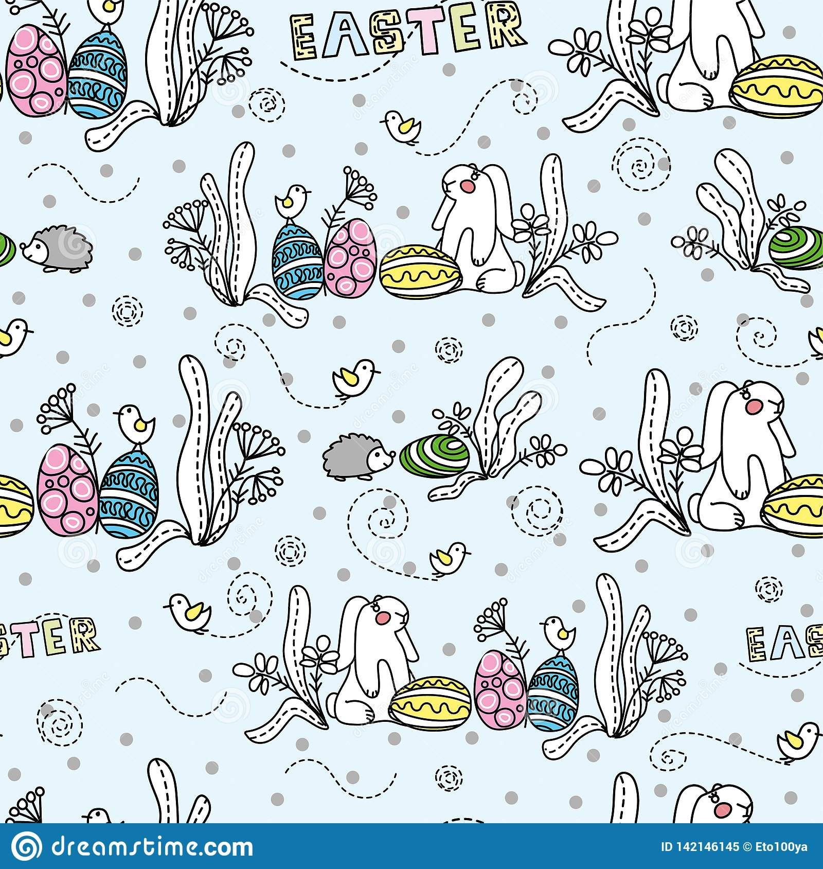 Rabbit with eggs under the bush. Easter. Seamless pattern.