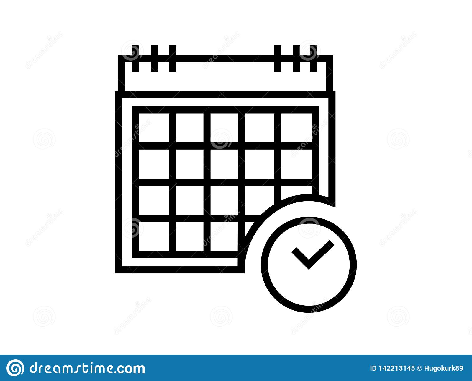 Illustration Calendrier.Simple Calendar Symbol Illustration Vector On White