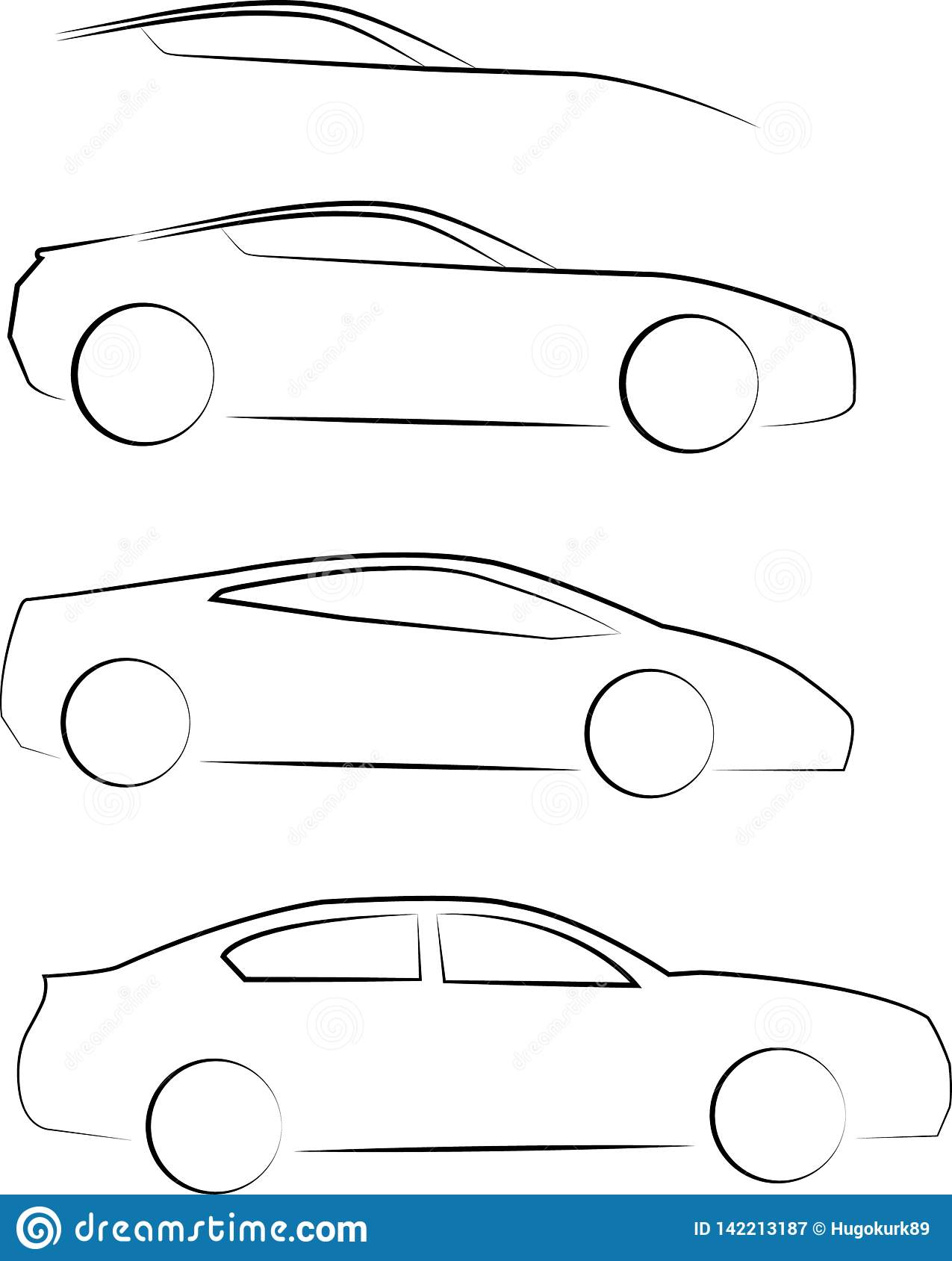 Cars side view outline
