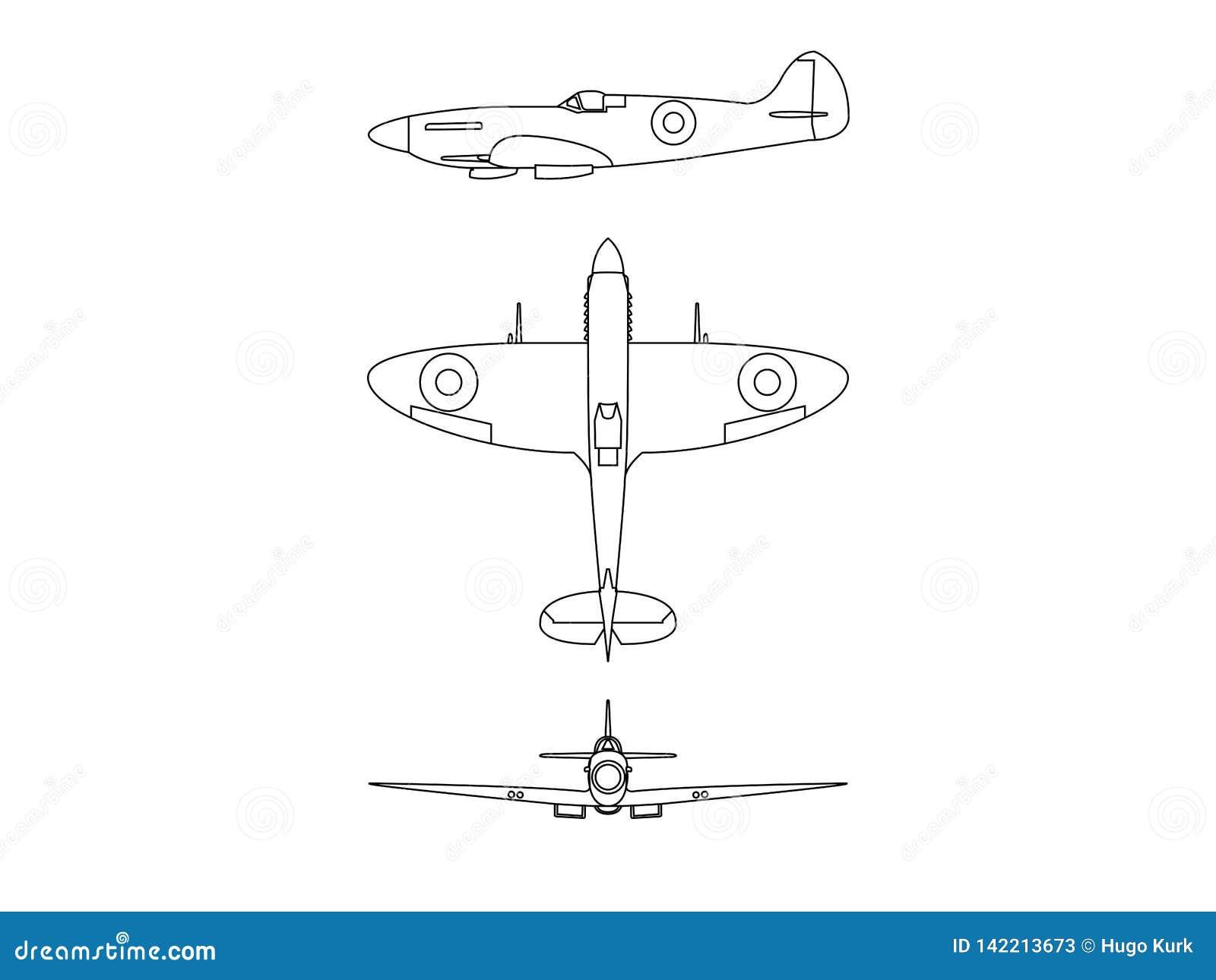 Supermarine Spitfire line illustration