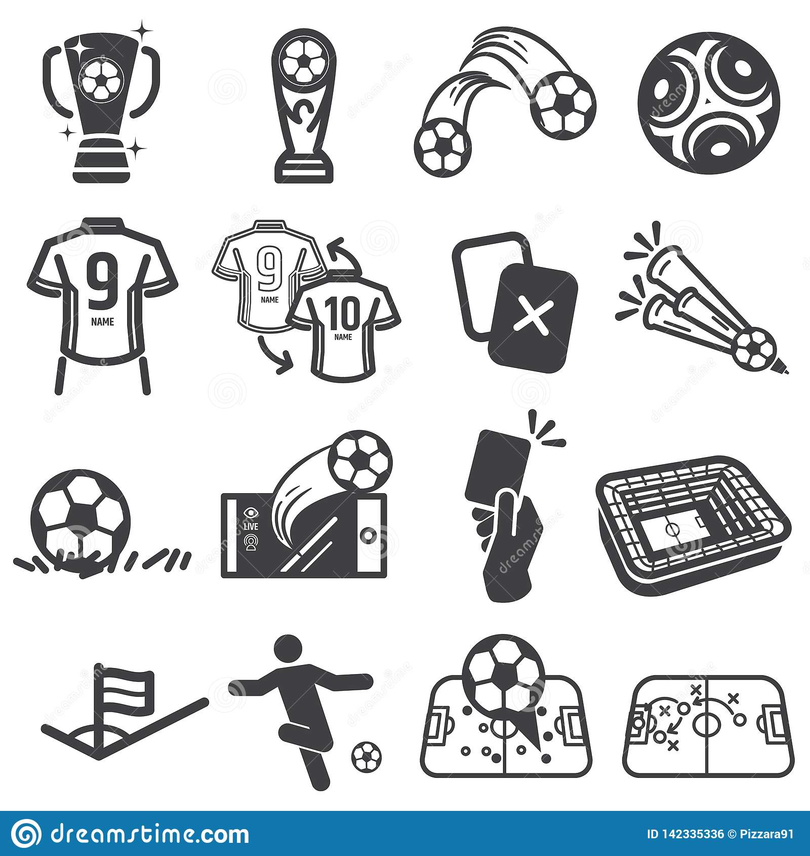 Soccer football sports icon set