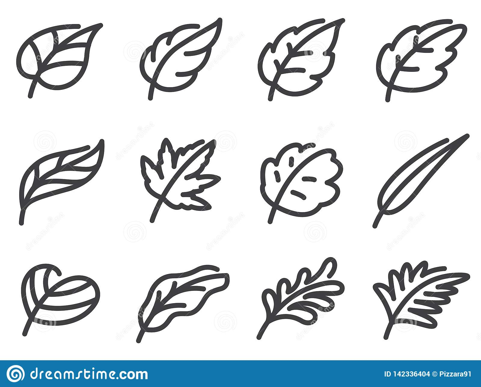 Leaves icon set. Flat line style.
