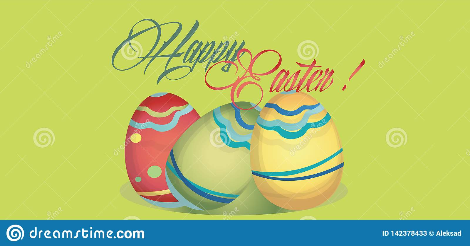 Happy Easter Holiday Card with Eggs. Web banner with Happy Easter