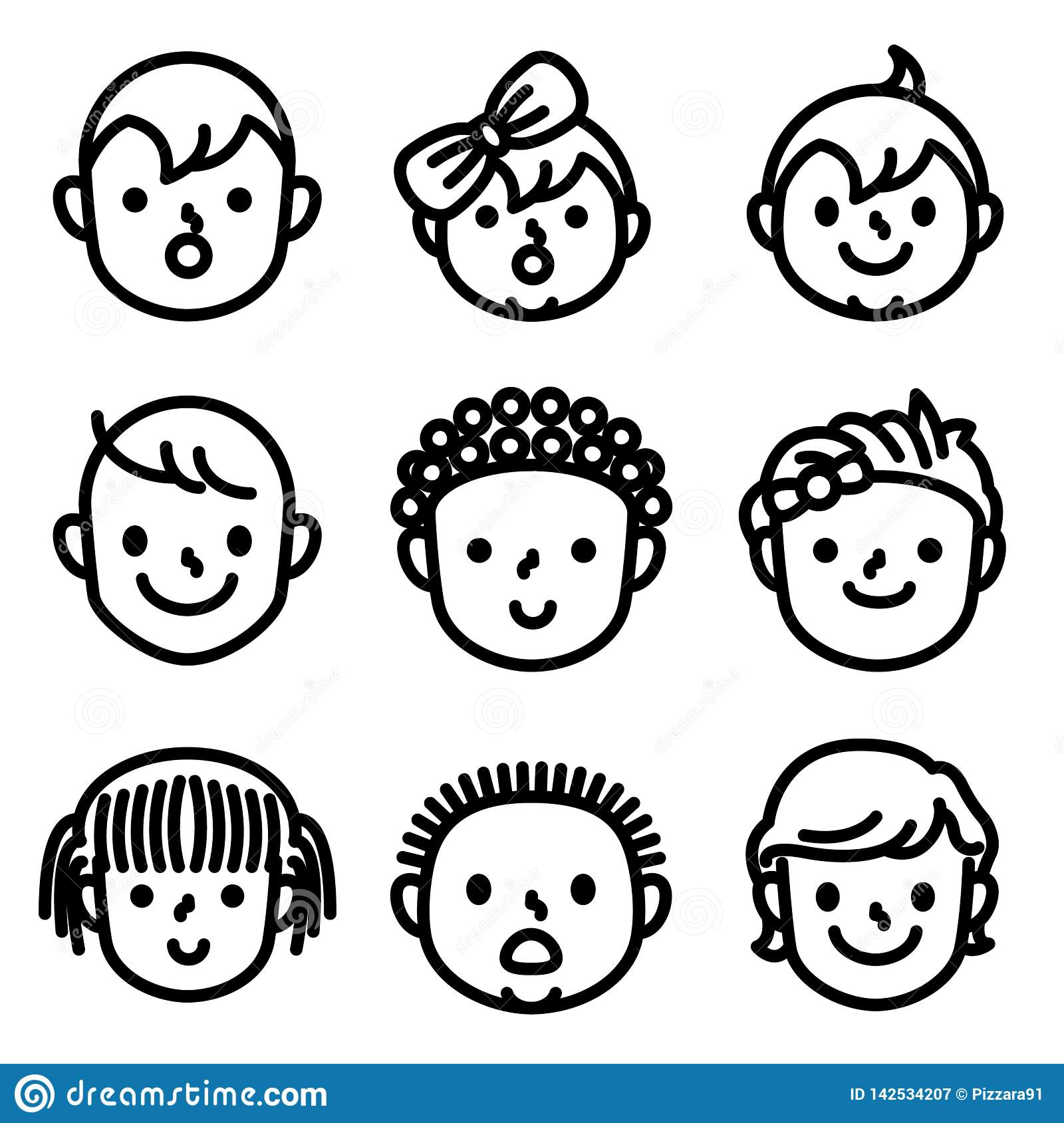 Kids and childs face avatar icons.