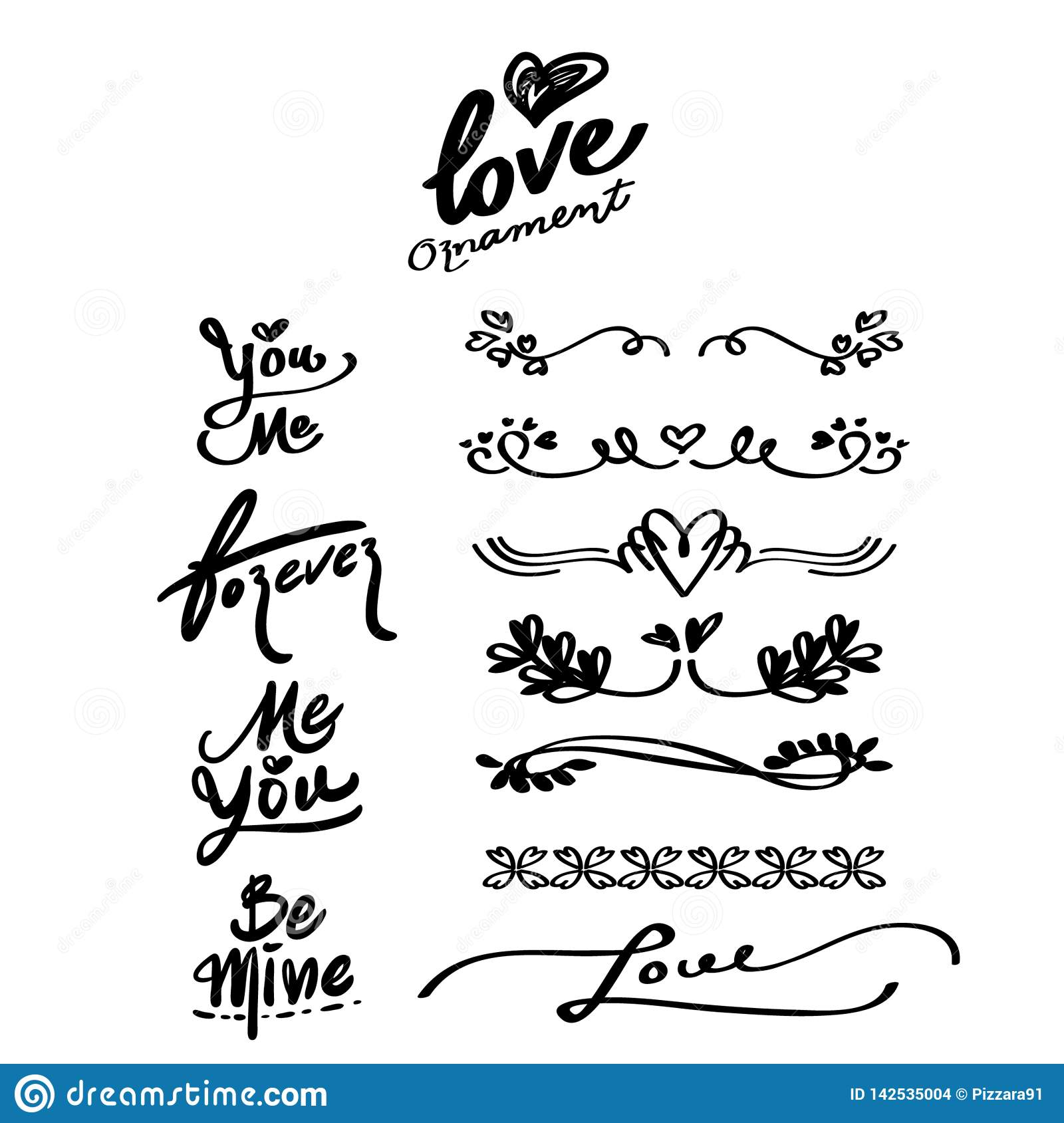 Love Hand drawn Ornaments and Calligraphy Words, divider.