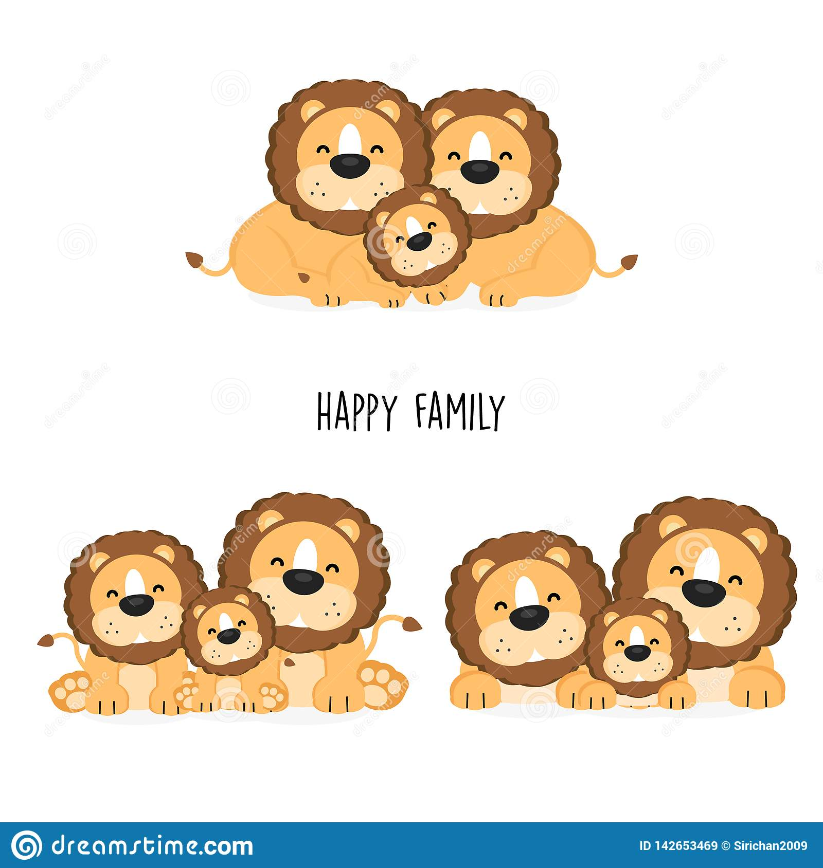 Cute Lion Family With Different Posing Stock Vector Illustration Of Happy Graphic 142653469