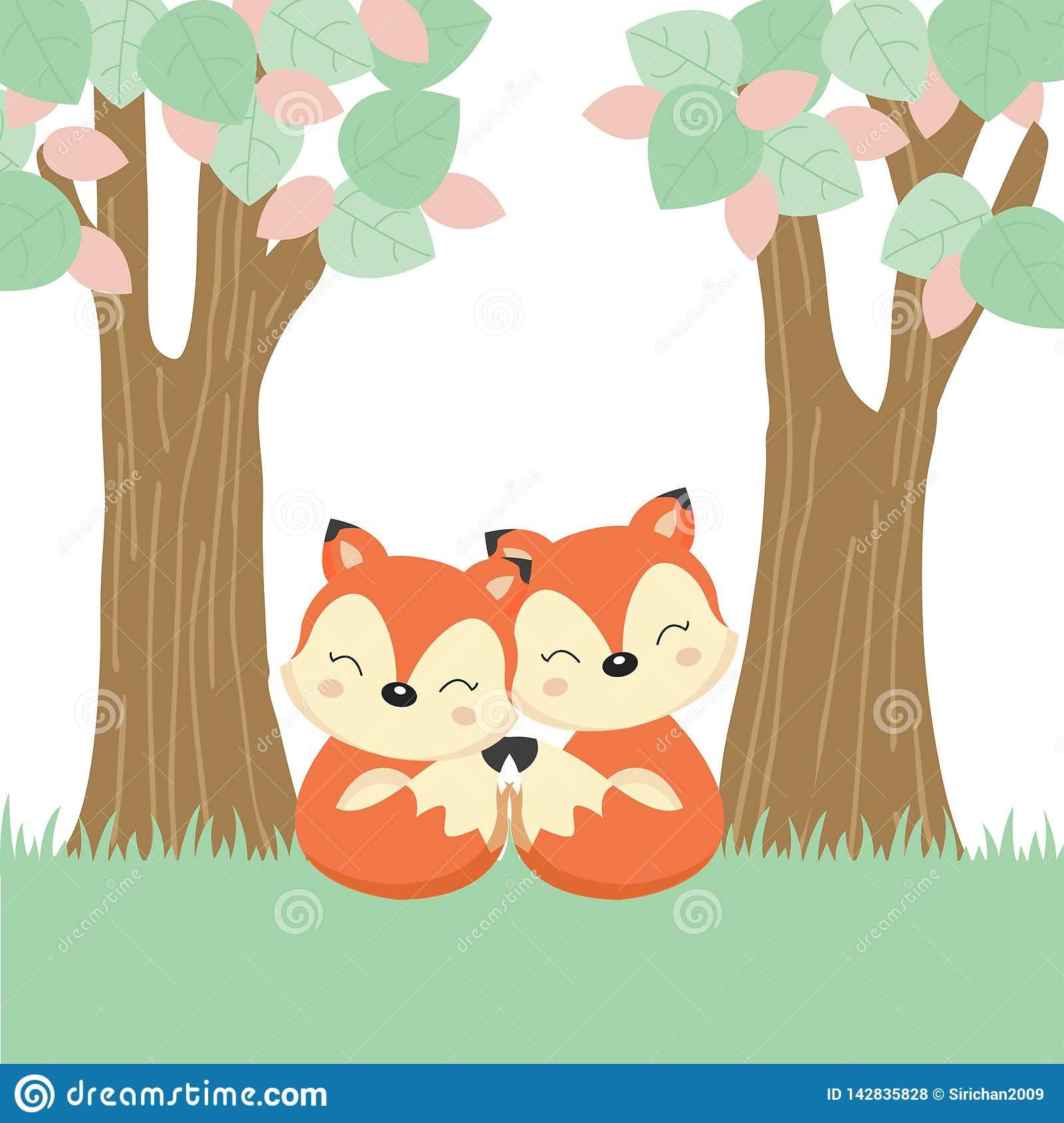 Mother`s day greeting card with little fox and mother on the wood log.