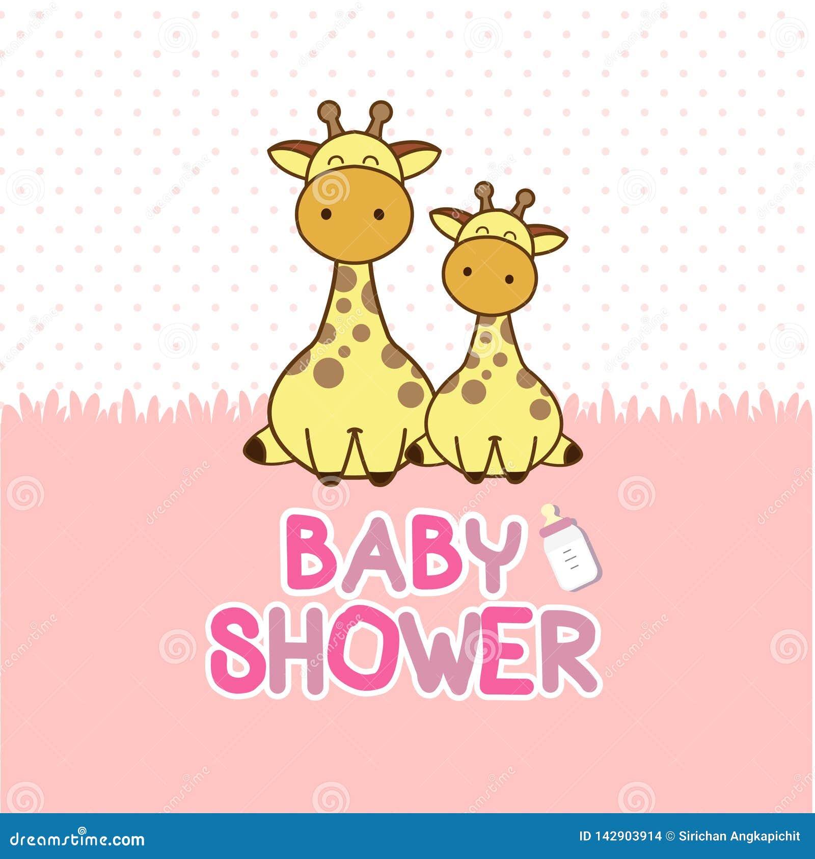 Baby shower invitation card. Baby Giraffe cartoon.