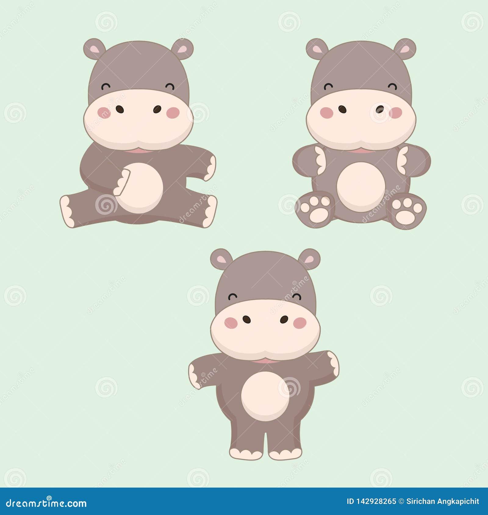 Little hippopotamus cartoon. Vector illustration