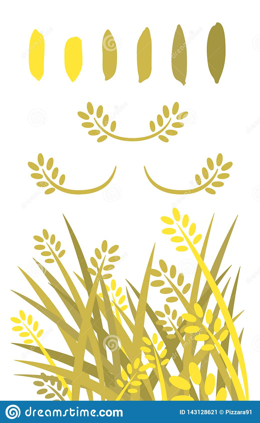 Rice vector illustrated.Clip art. Golden rice and rice seeds sillhouette color.