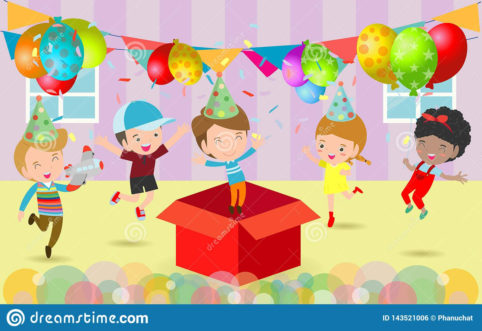 Birthday Party Kids Stock Illustrations 33 161 Birthday Party Kids Stock Illustrations Vectors Clipart Dreamstime