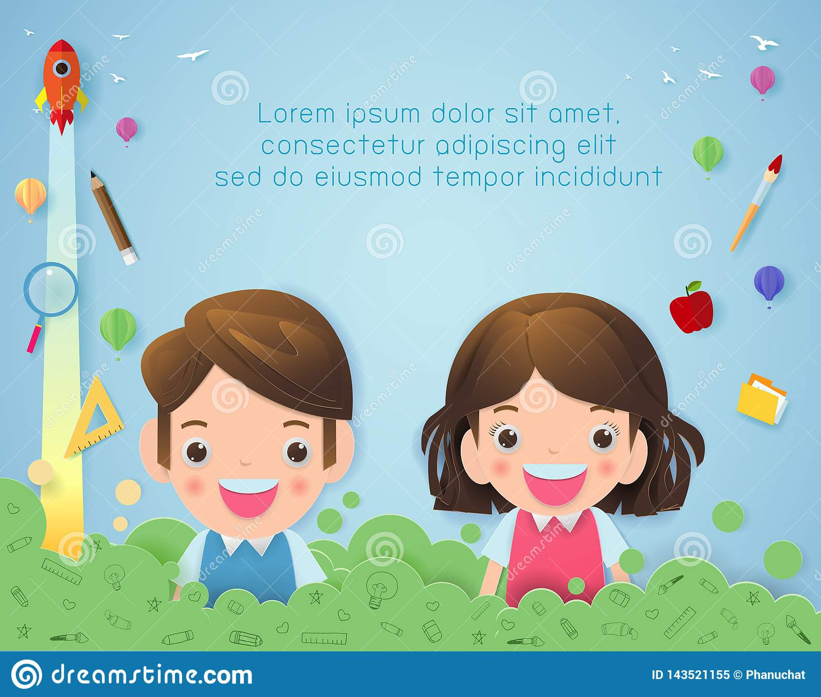 Paper art of back to school, kids school, education concept, Kids go to school, Banner Template for advertising brochure