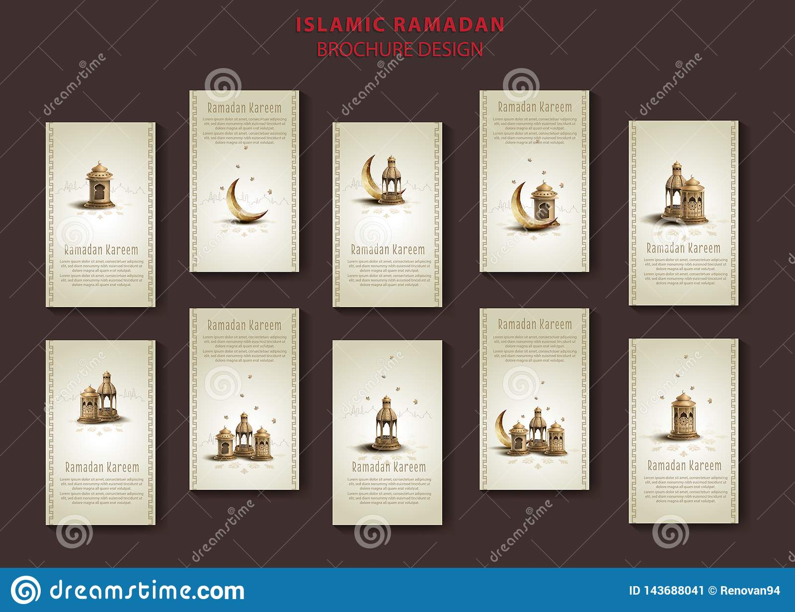 Islamic greeting ramadan kareem brochure templates design