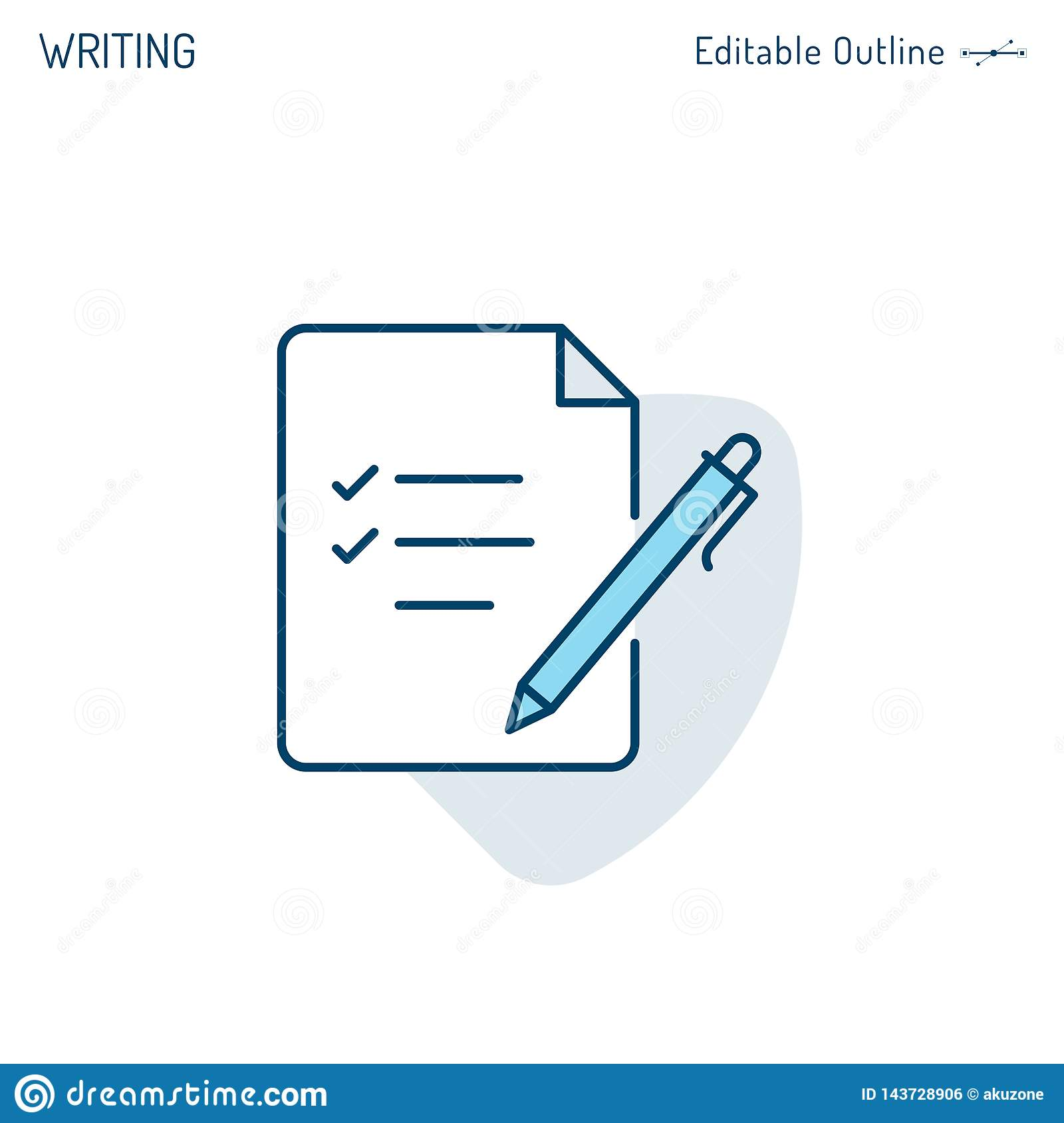 Notepad icon, Writing, File icon, Pen and Paper, Signing business document, Checklist, Corporate Business office files, Editable s