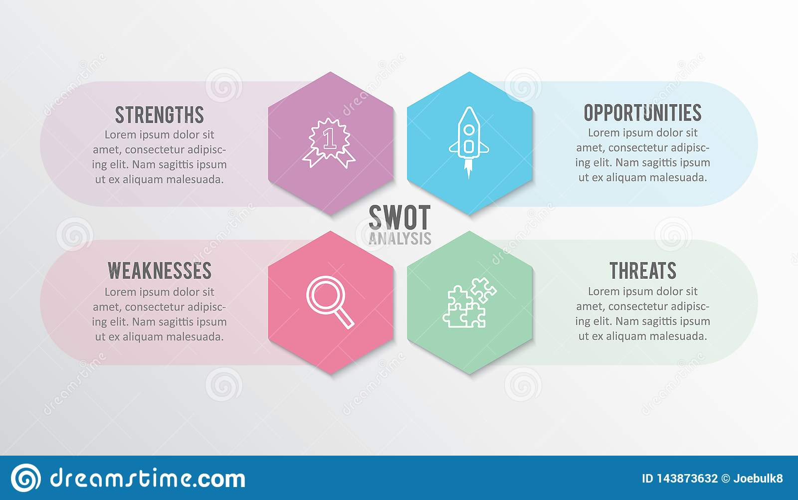 Infographic design template, SWOT analysis concept, Business concept, Steps or processes vector