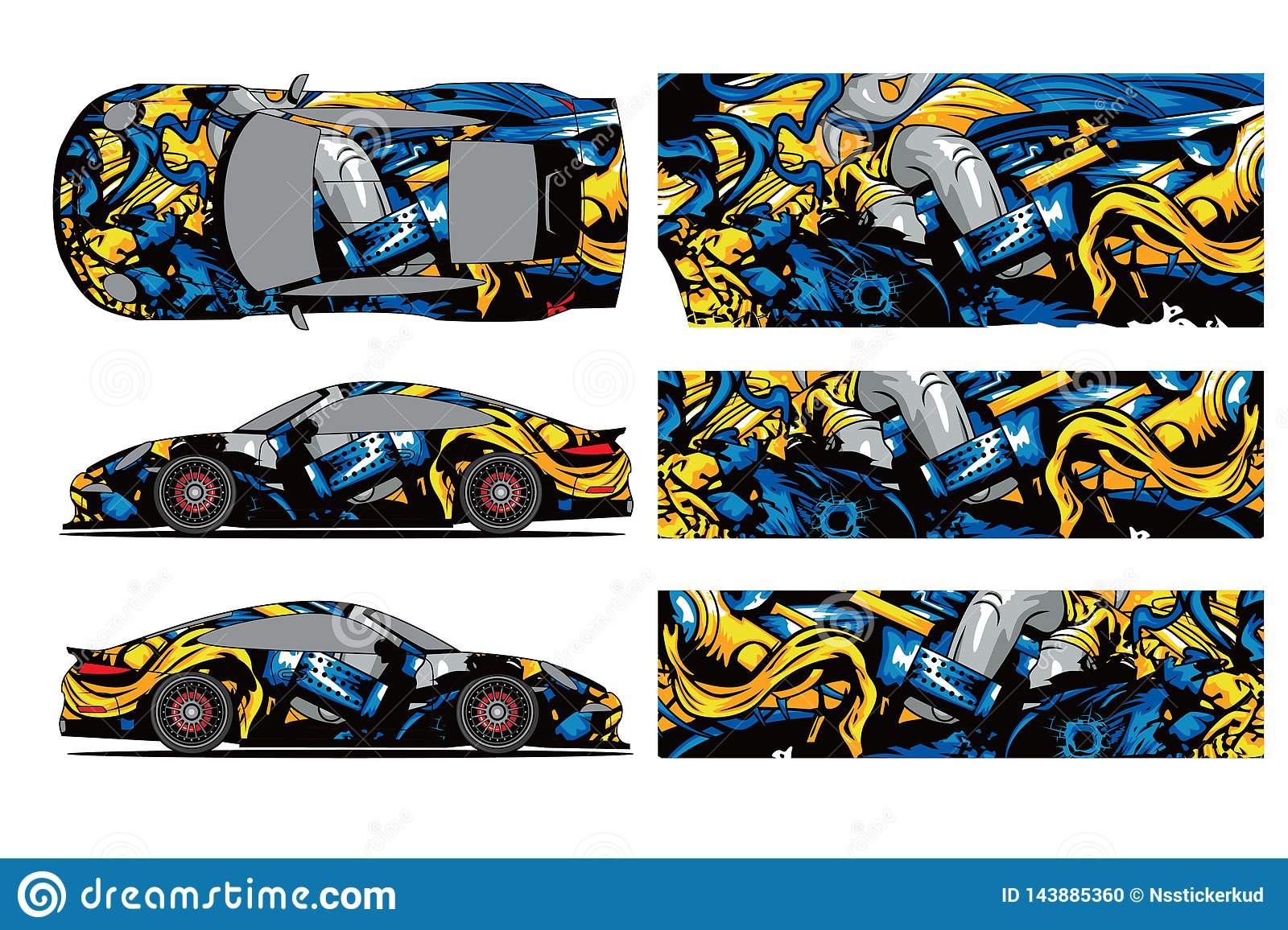 Car Decal Wrap Design Vector Graphic Abstract Stripe Racing Background Kit Designs For Wrap Vehicle Race Car Rally Stock Vector Illustration Of Design Cargo 143885360