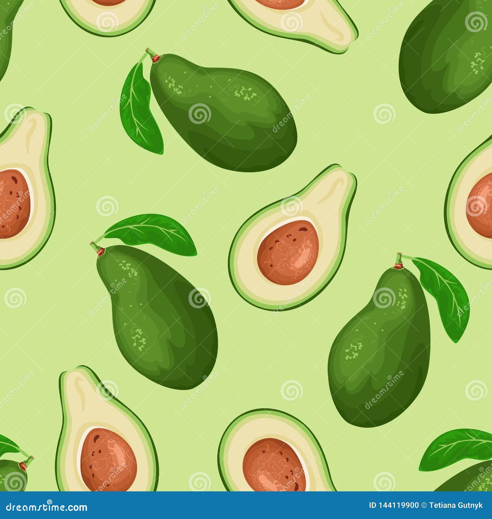 Avocado seamless pattern on green background. Cartoon simple flat style.