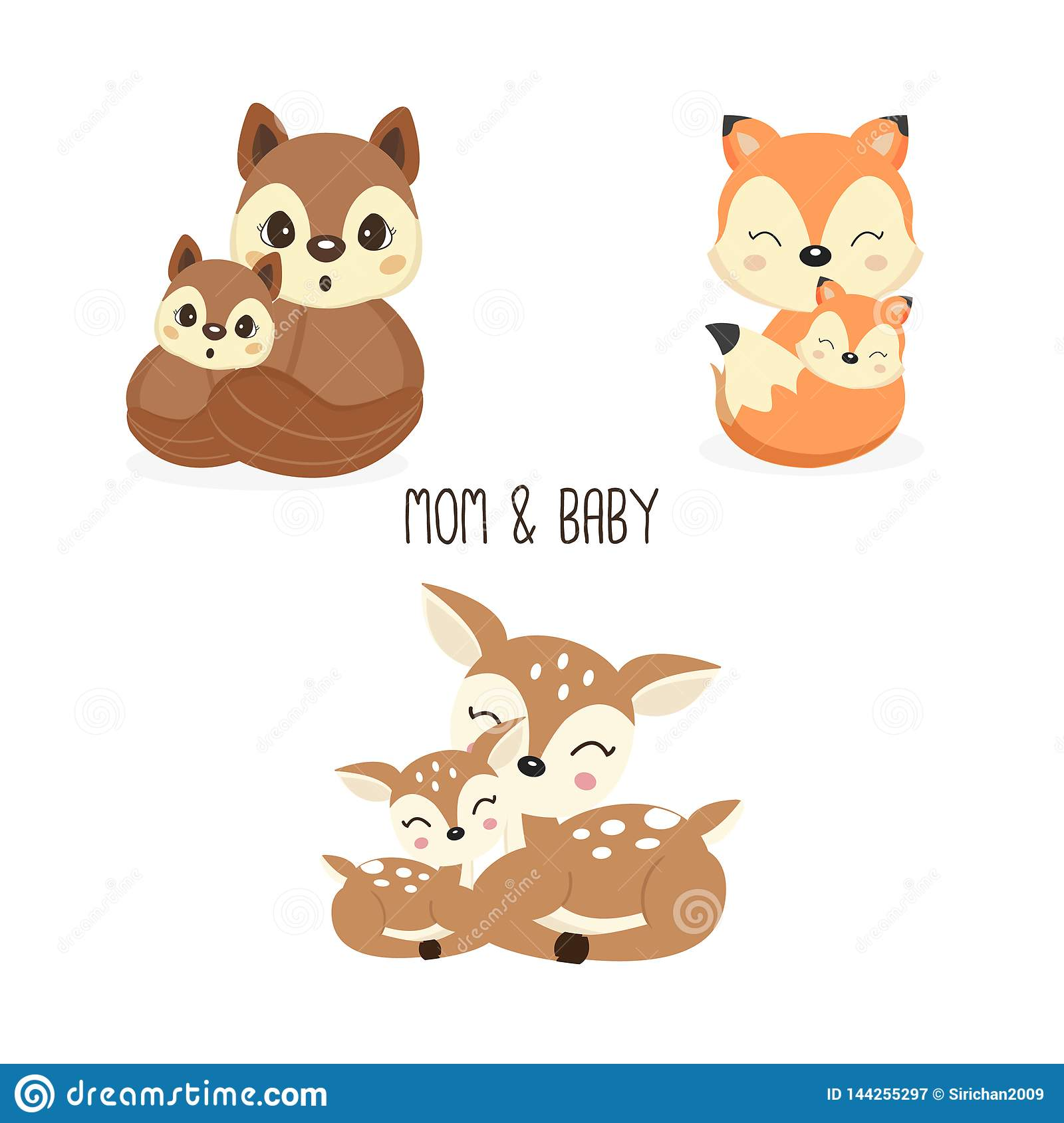 Cute Mother And Baby Woodland Animals Foxes Deer Squirrels