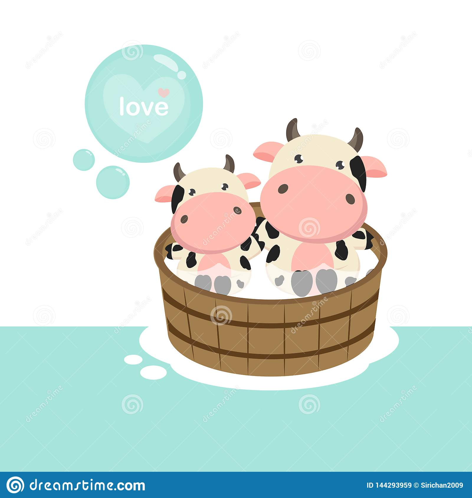 Happy cow and baby in the wood bath tub.