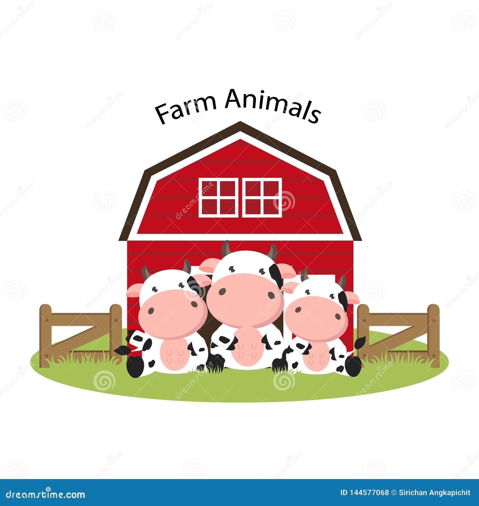 Happy Farm animals. Cute cow family cartoon.