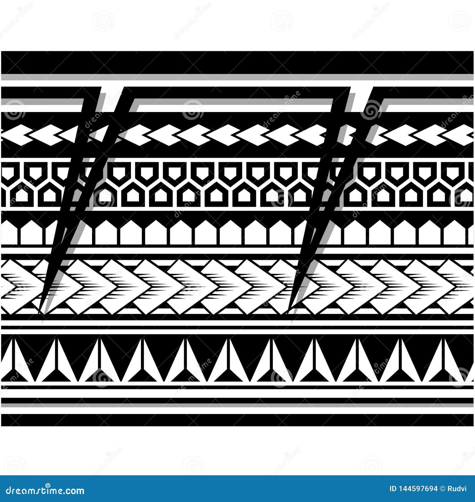 Polynesian Tattoo Sleeve Pattern Vector Samoan Sketch Forearm And