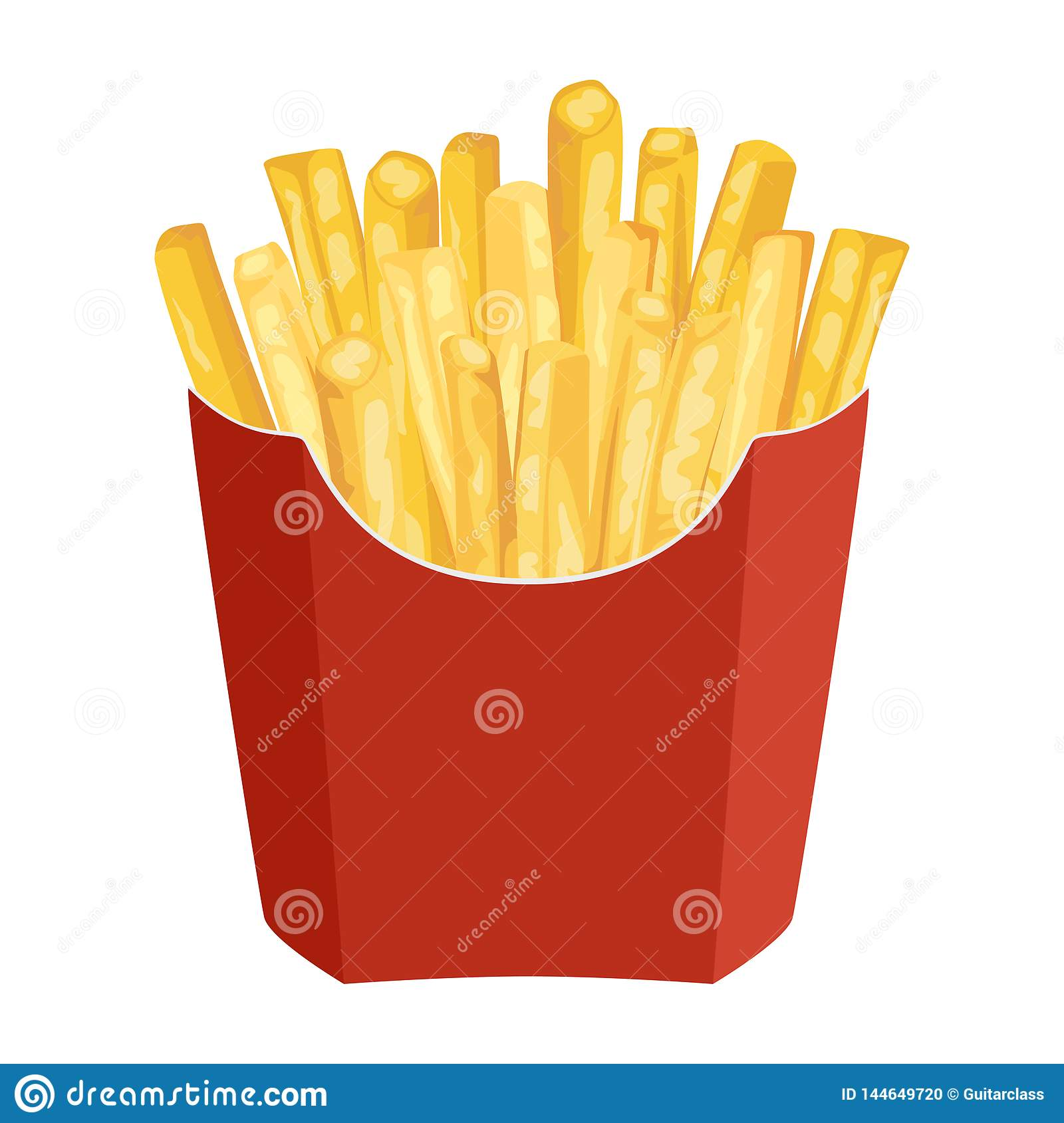 French Fries in red Paper Packaging Bags isolated on white background.