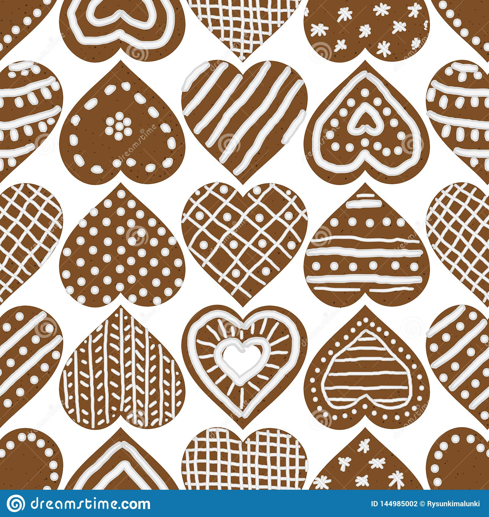 Christmas seamless vector pattern with iced gingerbread heart cookies