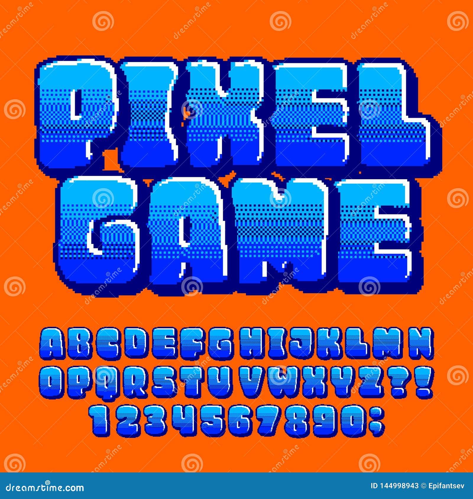 Pixel Game Alphabet Font. Digital Pixel Gradient Letters