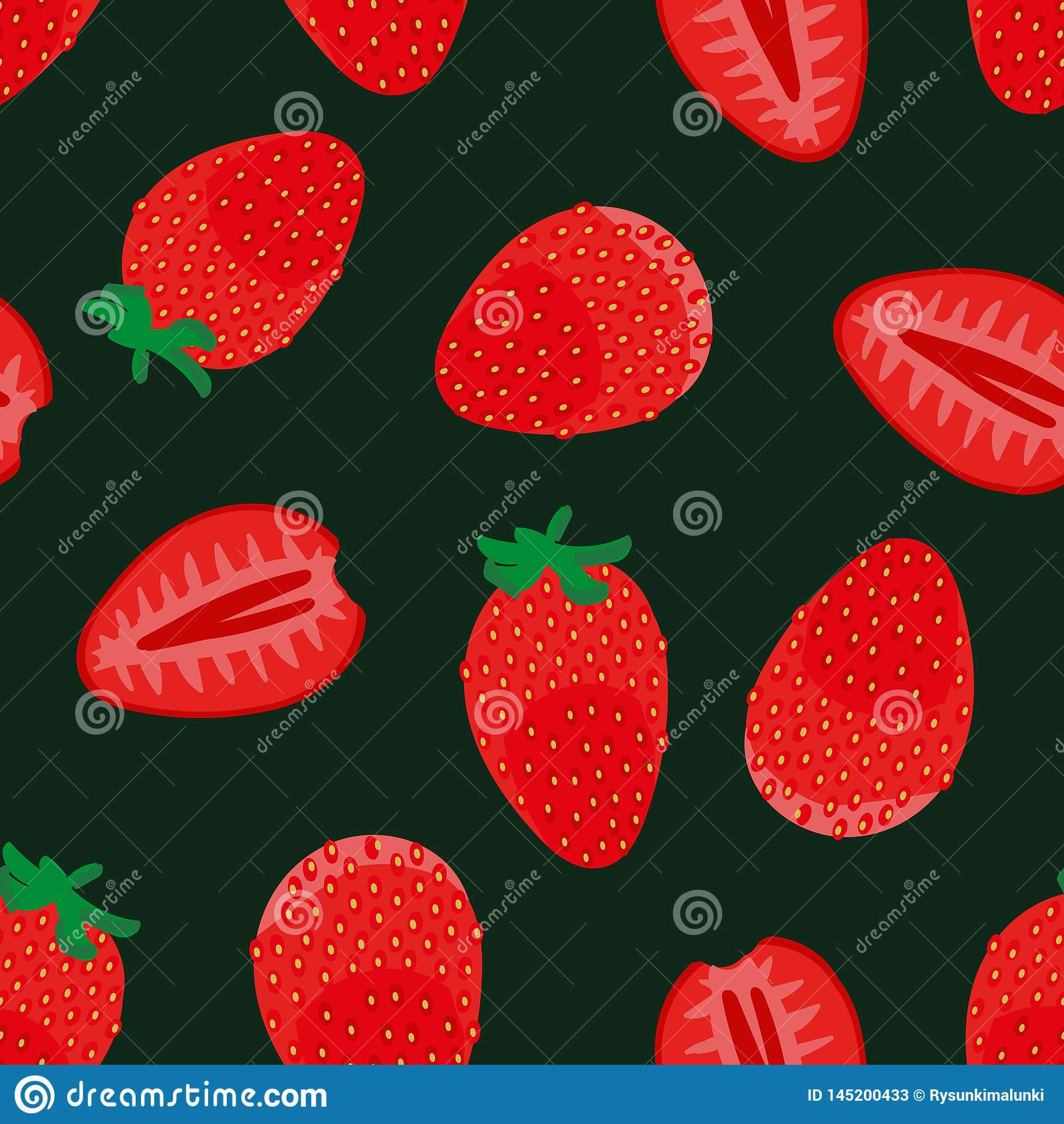 Seamless vector pattern with fresh red strawberrries on dark background