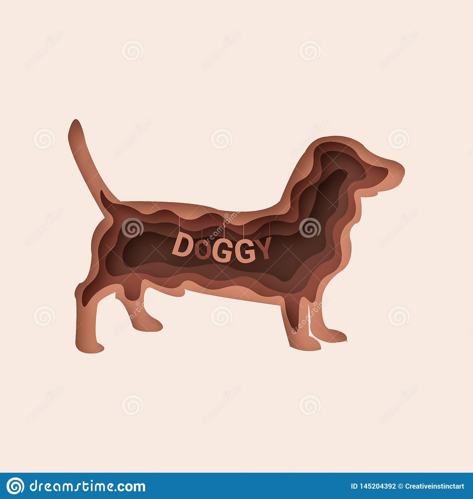 Dachshund dog, 3d abstract paper cut vector 10 eps