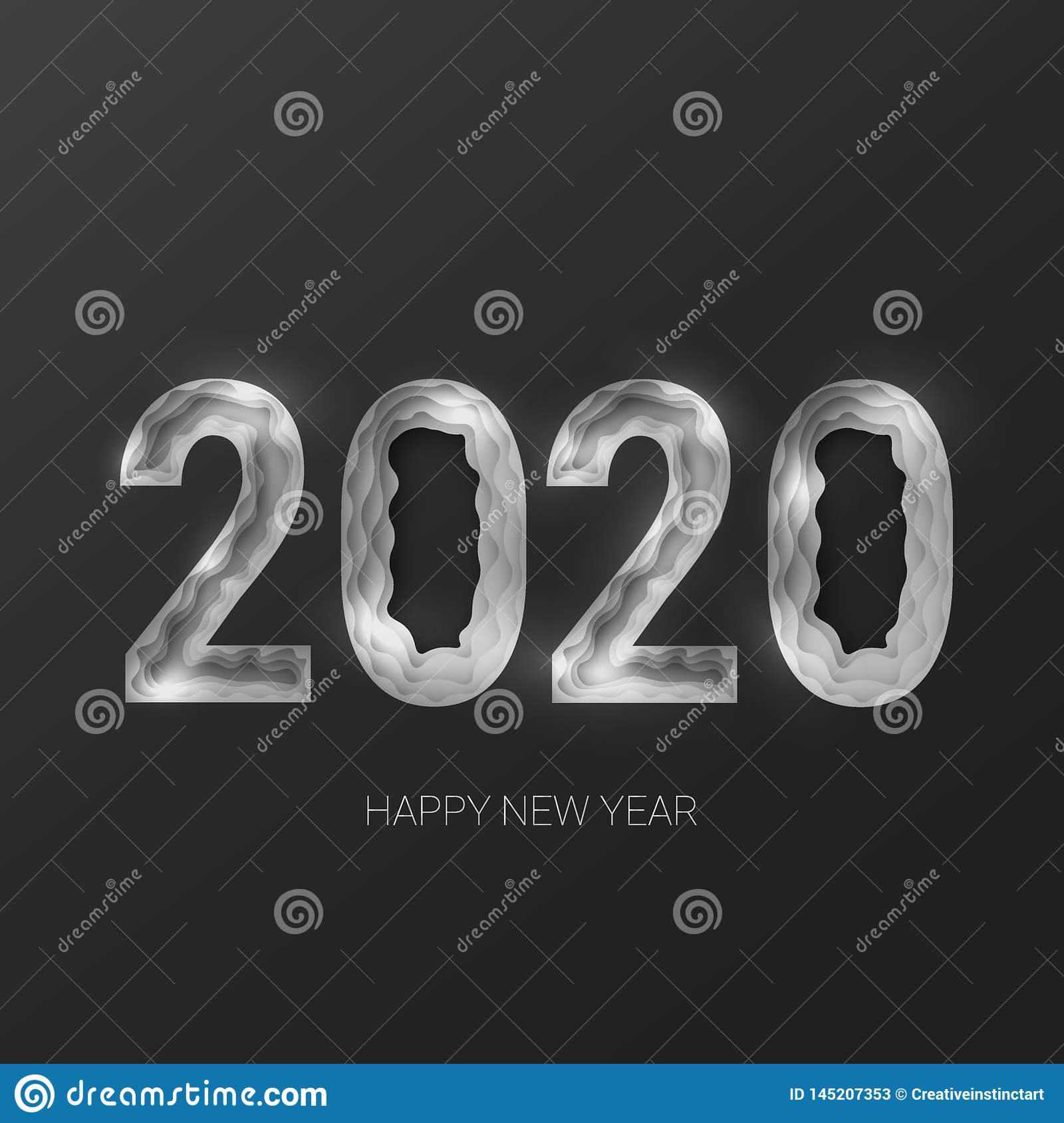 Happy new year 2020. Creative 3d abstract paper cut  eps 10