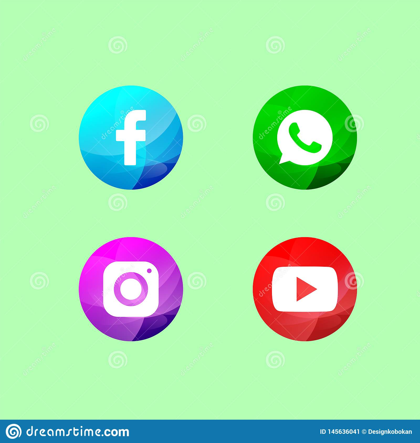 Social media icon with colored circles