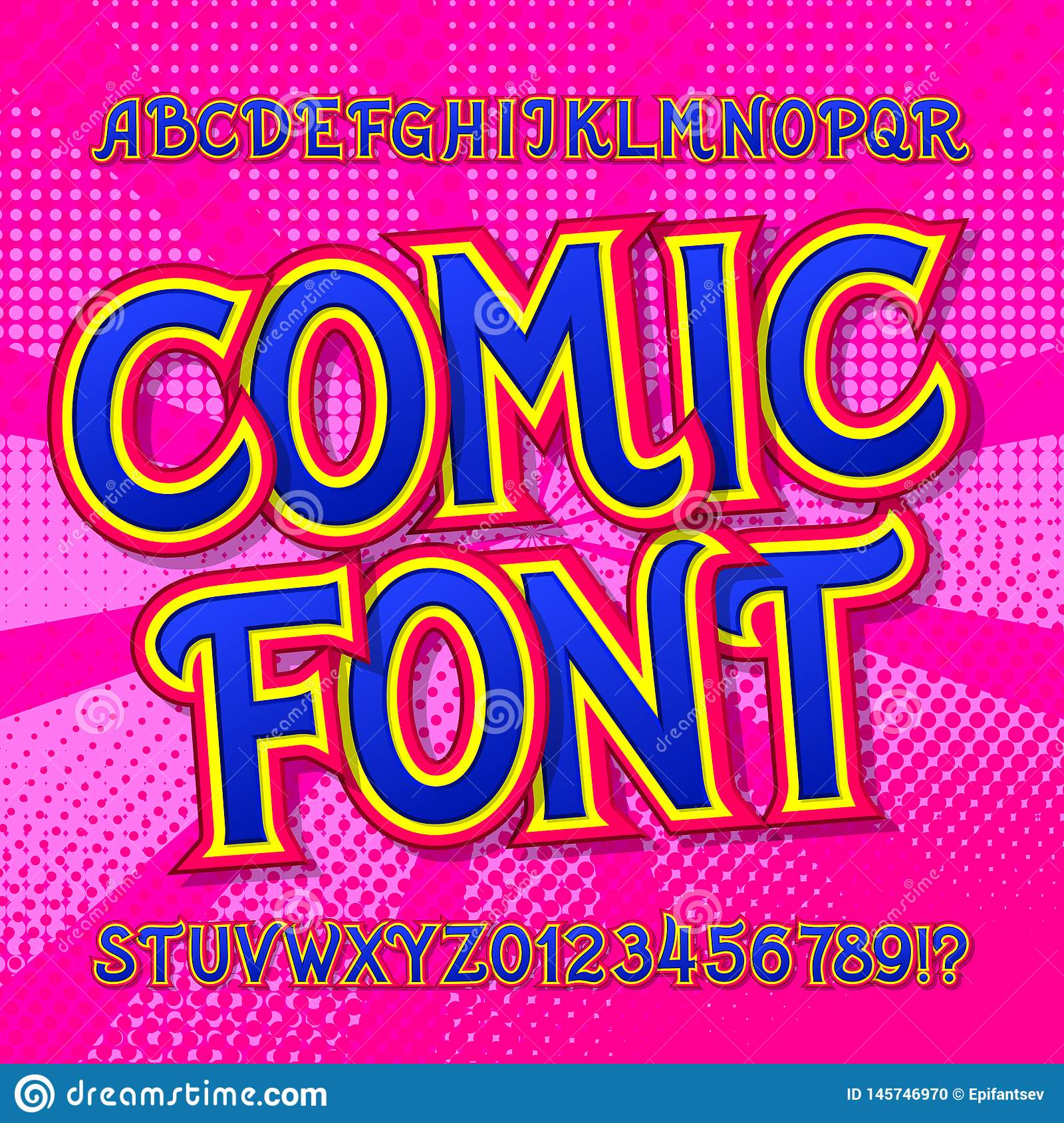 Comic font. Comics and pop art style alphabet. Colorful funny letters and numbers.