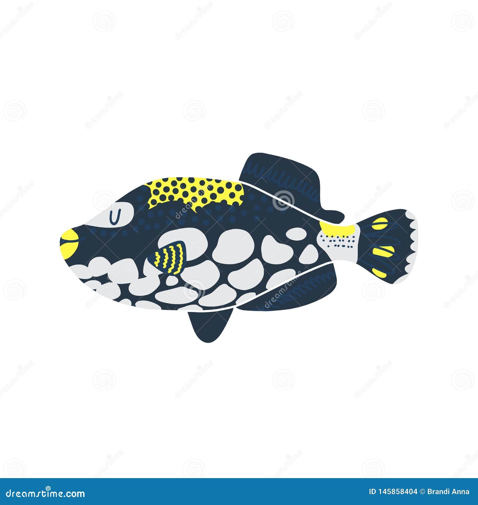 Isolated fish illustration. Set of freshwater aquarium cartoon fishes.